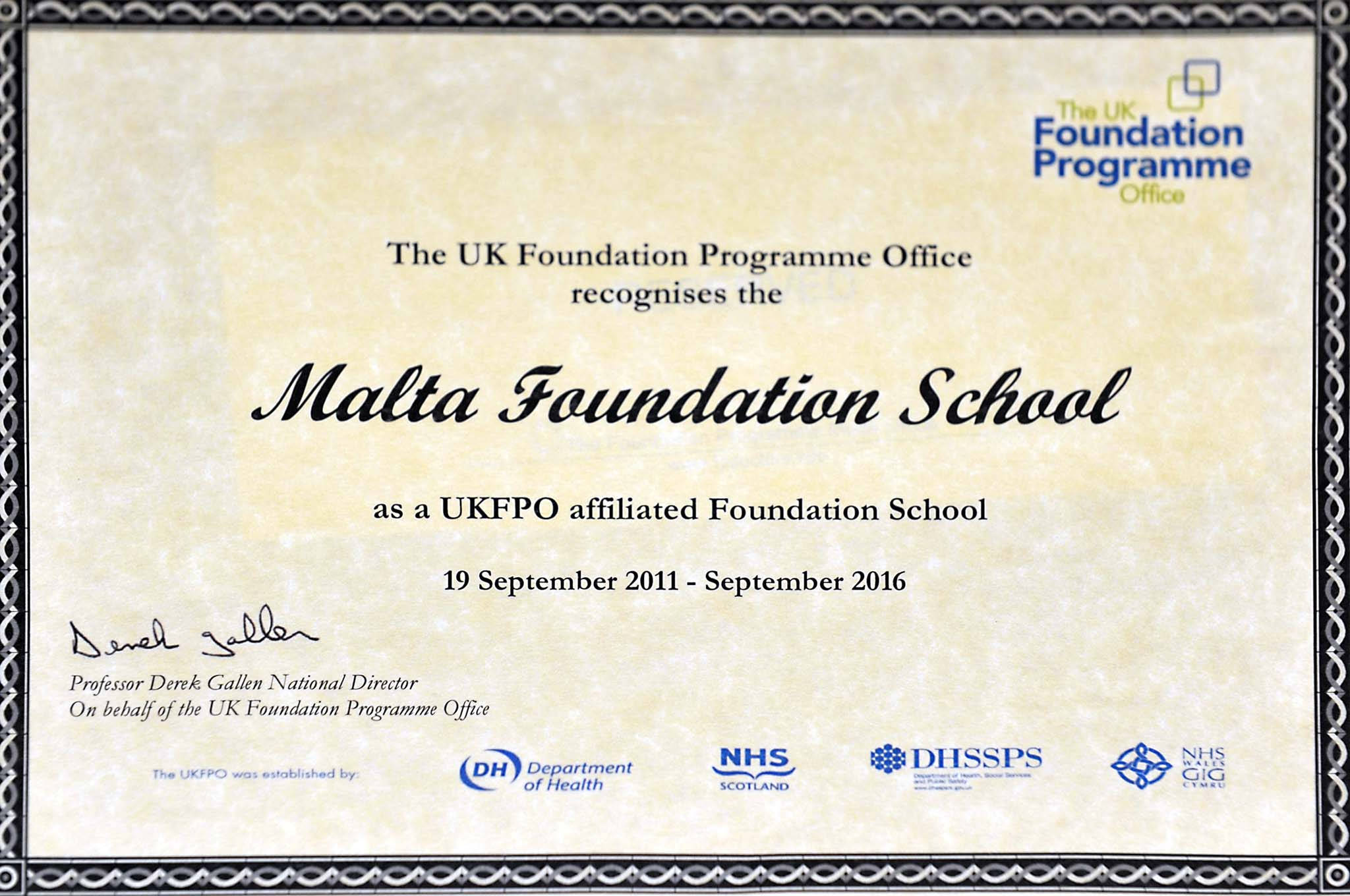 ... September 2011 For A Further 5 Years After Fulfilling The Quality  Standards Of The Medical Council Malta And The UKFPO. The Re Affiliation  Certificate ...